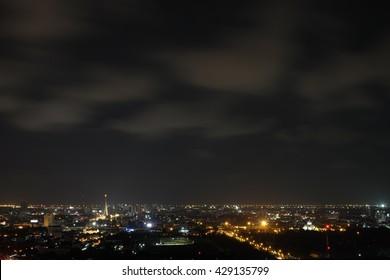 Bangkok city night light with Night sky