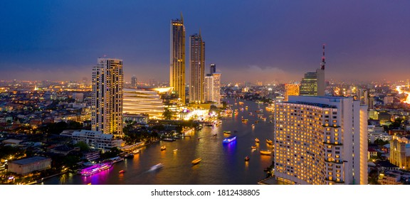 Bangkok City at night time, Hotel and resident area in the capital of Thailand, Bangkok Cityscape, Business district with high building at dusk