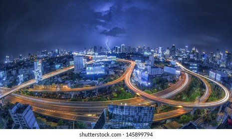 Bangkok city night view with main traffic from fish eye view