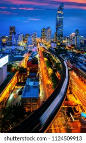Bangkok city night view from Silom Business center and transportation, Bangkok, Thailand