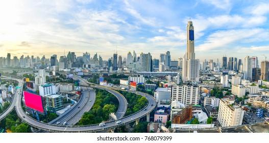 Bangkok city panorama and express ways from skyscraper in Thailand