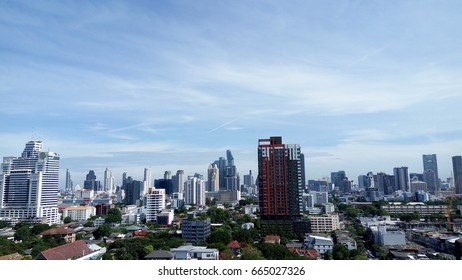 Bangkok city sky view with blue sky background