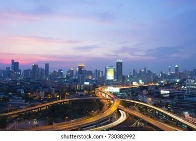 Bangkok city skyline business district with subset.
