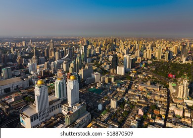 Bangkok city skyline, central business area and downtown, Thailand