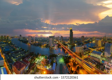 Bangkok city skyline. Landscape of building at Bangkok central business around the Chao Phraya river. Aerial view of Thailand modern building in business district area.