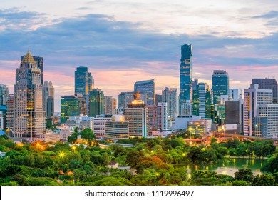 Bangkok city skyline with Lumpini park  from top view in Thailand at sunset