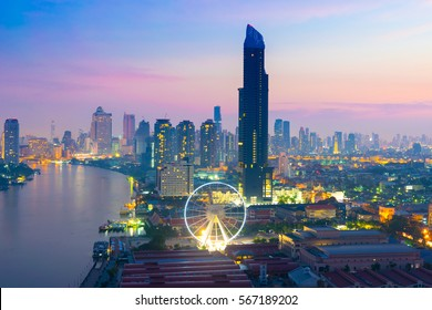 Bangkok city skyline with new scene