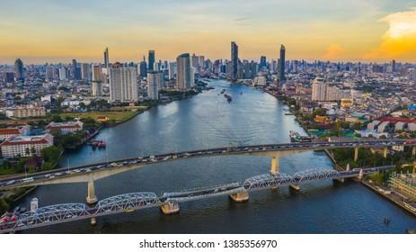 Bangkok city skyline and skyscraper with business building in Bangkok downtown, Chao Phraya River, Bangkok, Thailand.