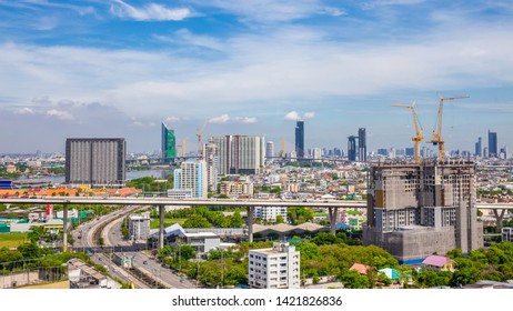Bangkok City skyline with urban skyscrapers with cloud sky background, Thailand