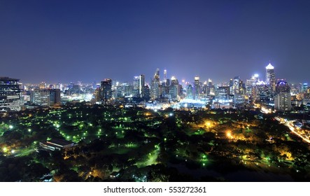 Bangkok city skyline with urban skyscrapers at night, Downtown buildings for background.