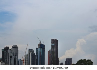 Bangkok city Sukhumvit, Thonglor and Ekamai area skyline with high rise buildings both built and under construlction. Condominium, hotel and office building. Copy space. Asian city economy concept.