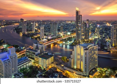 Bangkok city at sunset (Taksin Bridge), Thailand