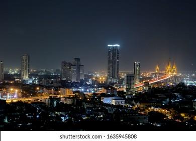 Bangkok city ,Thailand 4 FEB 2020 Bangkok urban view from LPN Rama3 condominium view point[Near Bhumibol 1 Bridge in Samut Prakan province] Thailand