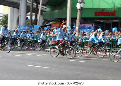 BANGKOK CITY, THAILAND - August 16, 2015: Unknown person, Activities Cycling 'bike for mom' people cycling for the Queen of Thailand, in Bangkok thailand.