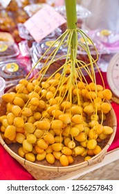 Bangkok city, thailand - August 28, 2018: A bunch of fresh dates fruit are selling on a weekend fair in Bangkok city, Thailand