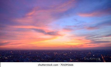 Bangkok city (Thailand) with beautiful sky. Bangkok at night time.
