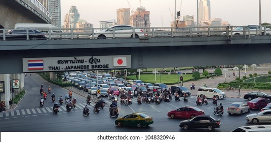 Bangkok city, THAILAND -March 15: A traffic road on a rush hour of March 15,2016. It is a downtown of Bangkok.