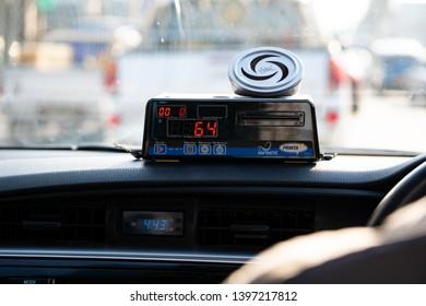 Bangkok City in Thailand-June-05-2018, Taximeter in Asia