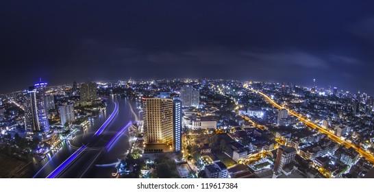Bangkok city town and the river, Thailand.