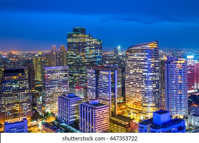 Bangkok city at twilight, Silom business district, Bangkok Thailand