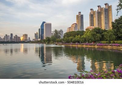 Bangkok city view at night,View the city from Benchakitti Park in Bangkok
