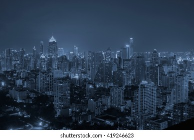 Bangkok City,Hotel and resident area in the capital of Thailand,blue tone
