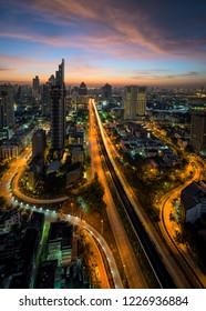 Bangkok cityscape abstract at center of Thailand