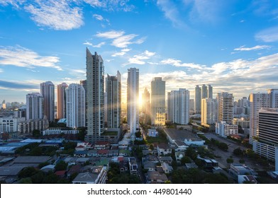 Bangkok cityscape , Aerial view of Bangkok modern office buildings, condominium in Bangkok city downtown with sunset sky , Bangkok , Thailand
