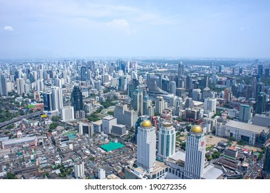Bangkok Cityscape. Aerial view on Panorama of Bangkok, Thailand