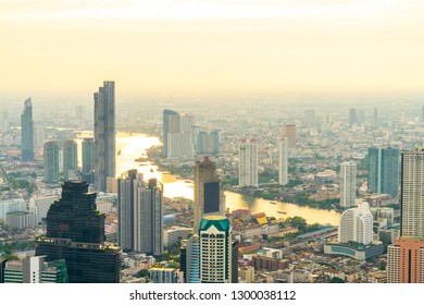 Bangkok cityscape with beautiful exterior of building and architecturein in Thailand with sunset sky