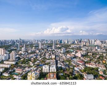 Bangkok cityscape bird eye view from drone