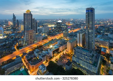 Bangkok Cityscape, business district with expressway and highway at night , Bangkok, Thailand