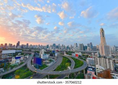 Bangkok Cityscape, business district with expressway and highway at Sunrise , Bangkok, Thailand