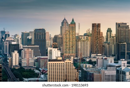 Bangkok Cityscape, Business district with high building at sunset (Bangkok, Thailand)