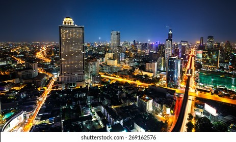 Bangkok cityscape business district with high building at dusk, Bangkok Thailand
