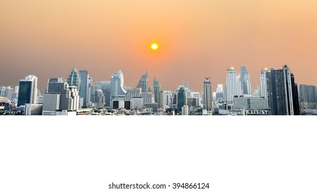 Bangkok Cityscape, Business district with high building at sunset time, Bangkok, Thailand