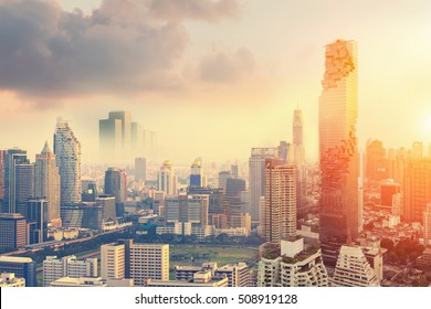 Bangkok Cityscape, Business district with high building at sunshine day, Bangkok, Thailand, Asia