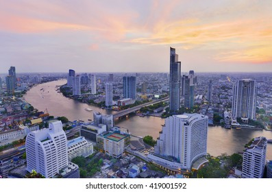 Bangkok cityscape and Chaophraya River at twilight time