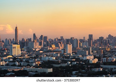 Bangkok Cityscape, downtown with hotel, condominium and high rise building,Thailand. Bangkok is the most populated city in Southeast Asia with one sixth of population live and visit Bangkok every day
