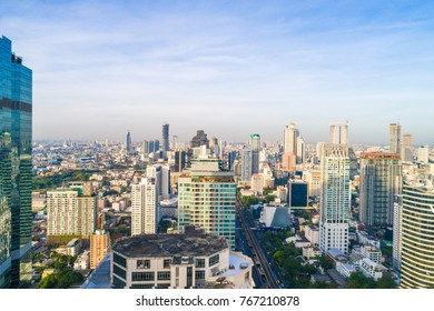 Bangkok cityscape downtown modern office building sunshine in morning down town of Thailand