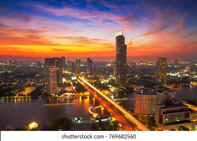 Bangkok Cityscape at dusk. Landscape of Bangkok business building at economic zone. Thailand modern building in business district area at twilight.