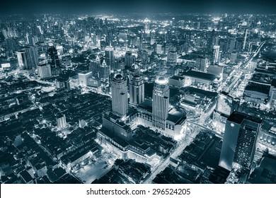 Bangkok Cityscape Expressway and Highway top view at night, Thailand