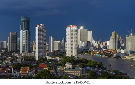 Bangkok cityscape Modern building river side at evening,Thailand