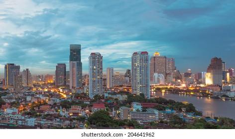 Bangkok cityscape Modern building at twilight time,Thailand