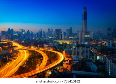 Bangkok cityscape at morning with traffic on highway with cars