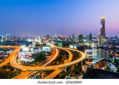 Bangkok cityscape at night with express way