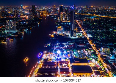Bangkok cityscape at night in Thailand.