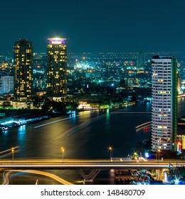 Bangkok cityscape. Bangkok night view in the business district. at dusk.