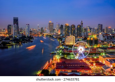 Bangkok cityscape. Bangkok night view in the business district at