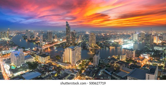 Bangkok cityscape. Bangkok night view in the business district. at twilight(Panorama)